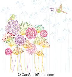 colorido, colibrí, y, flor