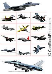 colorido, combate, aircraft., il, vetorial