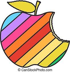 colorido, comido, manzana