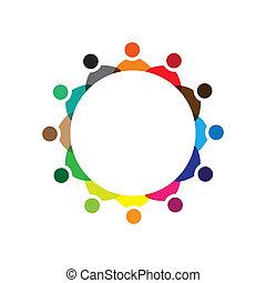 colorido, conceptos, comunidad, juego, amistad, empleado, compañía, vector, niños, y, empleados, reunión, uniones, diversidad, representa, compartir, icons(signs)., trabajador, ilustración, graphic-, como, concepto, etc