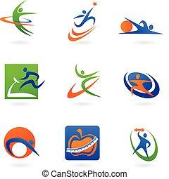 colorido, condición física, iconos, y, logotipos