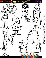 colorido, conjunto, caricatura, gente, página