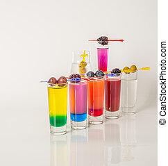 colorido, conjunto, de, bebidas, color, bebida, adornado, con, fruta, color, tiros