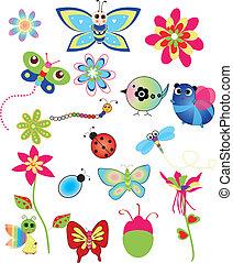 colorido, conjunto, de, primavera, ilustraciones
