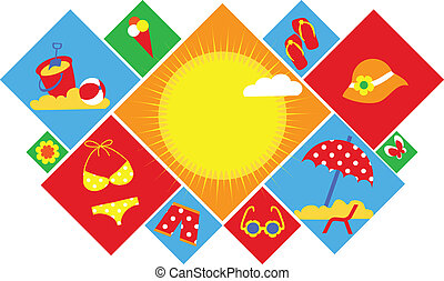 colorido, conjunto, de, verano, icons., feliz, vacaciones