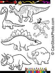 colorido, conjunto, libro, prehistórico