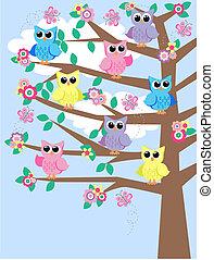 colorido, corujas, em, um, árvore