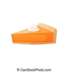 colorido, cream., bolo queijo, torta, laranja, pedaço