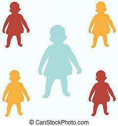 colorido, crianças, silhuetas