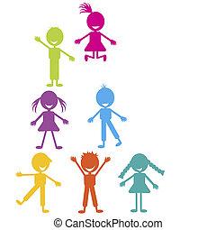 colorido, crianças, tocando