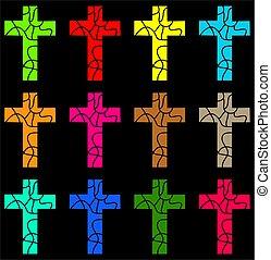 colorido, crucifixos