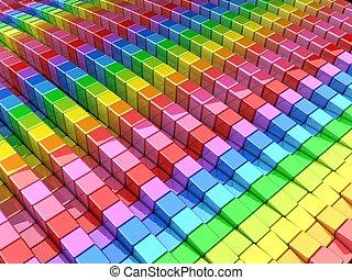 colorido, cubo, resumen, plano de fondo