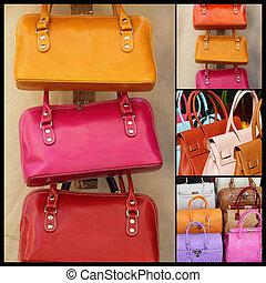 colorido, cuero, bolsos, colección, de, mercato, di, san,...