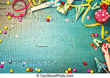 colorido, cumpleaños, marco, con, multicolor, fiesta, items., feliz cumpleaños, concepto