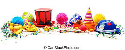colorido, cumpleaños, o, carnaval, plano de fondo, con, fiesta, artículos, aislado, blanco