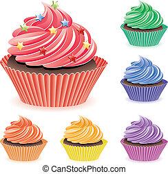 colorido, cupcakes