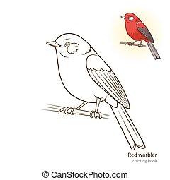 colorido, curruca, pájaro, vector, libro, rojo