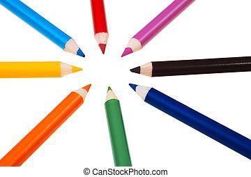 colorido, de madera, carboncillos, aislado, encima, blanco, fondo.
