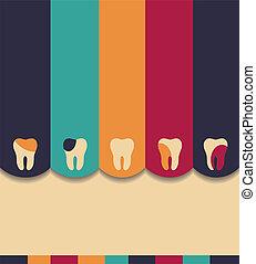 colorido, dental, diseño, plantilla