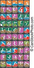 colorido, deportes, -, símbolos, verano