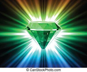 colorido, diamante, en, brillante, fondo., vector