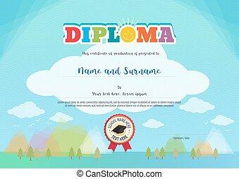 colorido, diploma, certificado, para, niños, en, brillante azul, plano de fondo, con, niños, elementos