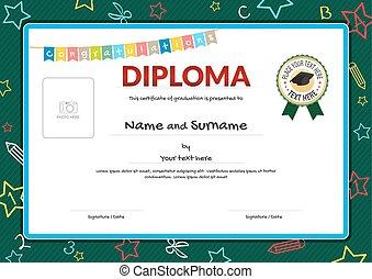 colorido, diploma, certificado, para, niños, en, verde, pizarra, con, niños, elementos, plano de fondo, casquillos de la graduación, cinta, sello, y, foto, espacio