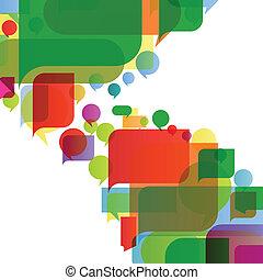 colorido, discurso, burbujas, y, globos, nube, ilustración,...