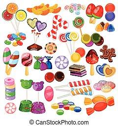 colorido, dulce, colección, variado