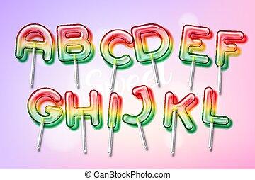colorido, dulce, dulce, alfabeto, fuente, chupete