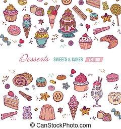 colorido, dulces, -, postres, vector, folleto, o, tarjeta, pasteles