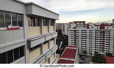 colorido, edificio, singapur, área, residencial