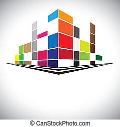 colorido, edificios, de, perfil urbano, con, rascacielos,...