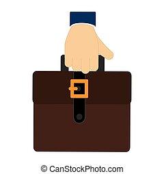 colorido, ejecutivo, tenencia de la mano, maleta, icono