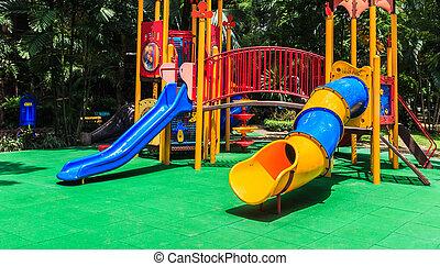 colorido, elástico, piso, parque, caucho, verde, patio de recreo, niños