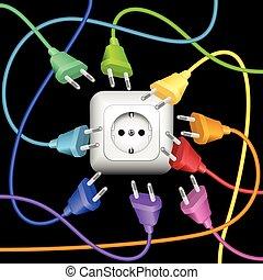 colorido, enchufes, desorden, enchufe, cable