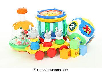 colorido, encima, aislado, plano de fondo, juguetes, blanco