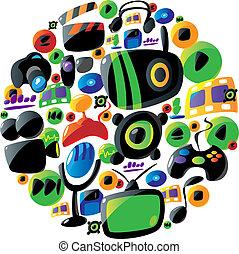 colorido, entretenimiento, y, música, iconos, en, círculo