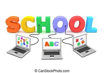 colorido, escuela, alambró, múltiplo