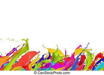 colorido, esguichos, em, forma abstrata, isolado, branco,...