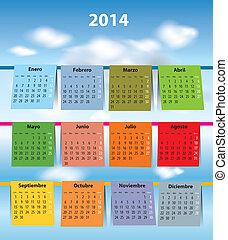 colorido, español, calendario, para, 2014