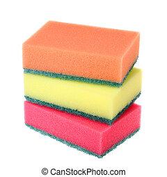 colorido, esponjas, cozinha