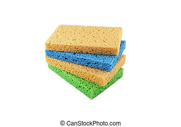 colorido, esponjas