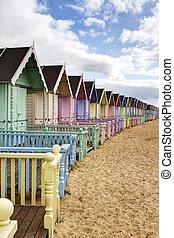 colorido, essex, cabanas, rural, praia, fila