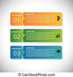 colorido, etiquetas, con, secuencia, de, pasos, -, vector,...