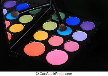 colorido, eyeshadow, colecciones, en, fondo negro