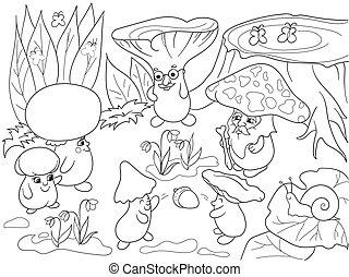 colorido, familia , ilustración, niños, hongos, libro, ...