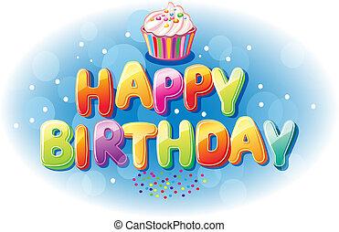 colorido, feliz cumpleaños, texto