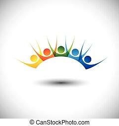 colorido, feliz, y, excitado, conjunto, de, gente, el gozar,...