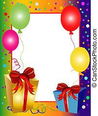 colorido, fiesta, plano de fondo, con, globos, y, presentes